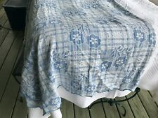 BLUE PLAID STYLIZED FLOWERS vint SCOLLOPED EDGE blanket COVERLET SPREAD THROW