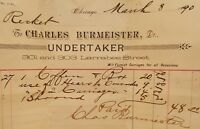 ANTIQUE 1890 CHICAGO UNDERTAKER DR BURMEISTER LARRABEE ST RECKERT COFFIN RECEIPT