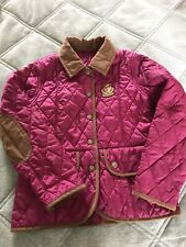 Girls Barbour Quilted Jacket / Coat Age 6/7 Very Good Condition