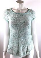 dELiA*s Womens Top Small Mint Green Short Sleeve Floral Lace Open Back Shirt