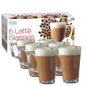 Set Of 6 240ml Clear Tall Costa Cappuccino Coffee Tea Latte Glass Mugs Cups