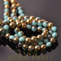 100pcs 6mm Round Glass Loose Spacer Beads Porcelain Lake Blue Half Gold