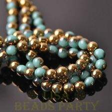 100pcs 6mm Round Glass Loose Spacer Beads Porcelain Lake Blue Half Gold