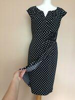 Adrianna Papell Black Polka Dot Spotted Dress Size 12 Party Occasion
