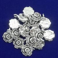 12Pcs New Carved Tibetan Sliver Flower Pendant Bead 16x12x5mm