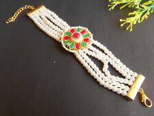 Ethnic Traditional Golden Plated Multi Stone White Beads Bracelet 2506_01