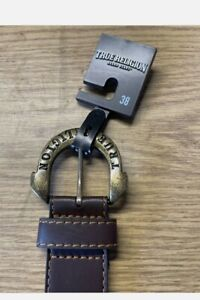 True Religion Gains Horseshoe Harness Buckle Belt Brown Size 38 NWT $45