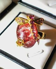 Charming Gold Tone Dragonfly Rhinestone Ring Hot Pink SIZE 8
