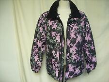 Ladies Ski Jacket AIRWALK size UK 10, black & pink floral, warm, no hood 7526