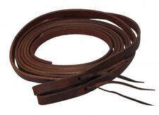 """5/8"""" X 8' Oiled Harness Leather Split Reins w/ Water Loops Ties USA Made 72023"""