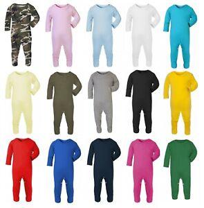 100% Cotton BABY BOY/GIRL Plain Chest Babygrow Bodysuit Sleepsuit Romper suit