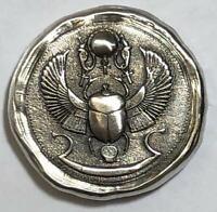 "MK BarZ 1 Troy Oz.  ""Scarab Beetle!"" Round .999 Fine Silver Reverse Logo Stamp"