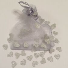 Silver Glitter Love Hearts & Organza Bag - Table Confetti - Card Making