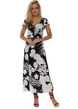 Lonkel Black Floral Print Ankle Grazer Maxi Dress