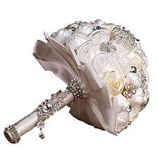 Handmade Diamond Pearl Rhinestone Brooch Bridal Hold Flowers Wedding Bouquet