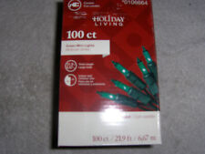 Holiday Living 100 Ct Mini Lights GREEN-(NEW IN BOX) FREE SHIPPING