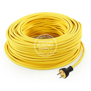 Yellow Cordset - Cloth Covered Round Rewire Set - Antique Lamp & Fan Cord