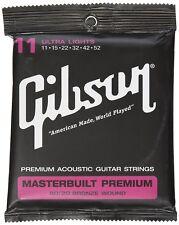 GIBSON GEAR SAG-BRS11 MASTERBUILT PREMIUM 80/20 BRASS ELECTIRC STRINGS .011-.052