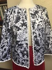 Black White 10 Graphic Print Oscar De La Renta Jacket Office Party Dressy