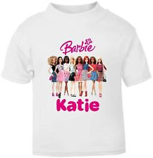 Personalised Kids Barbie Soft T-Shirt Childrens Short Sleeve -Girls-