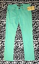 NWT Sz 28 REUSE JEANS Minty Green Stretch Denim Cropped Pants Recycled Cotton