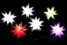 6x Stern LED-Adventsstern - Kette Sternenkette mit Farbwechsel Lichterkette bunt
