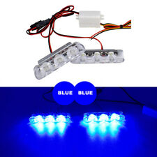 2Pcs Blue Motorcycle Strobe Flash Warning LED Light  Police Warning Lights Lamps