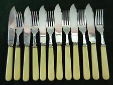 6 Setting 12 Piece Priestley & Moore fisheaters Set ivory coloured Resin Handles