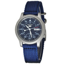 Seiko Seiko 5 Mens Automatic Watch with Blue Dial & Blue Fabric Belt Strap