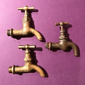 1920 LOT OF 3 ANTIQUE ARCHITECTURAL BATH PLUMBING BRONZE TAPS FAUCET INDUSTRIAL