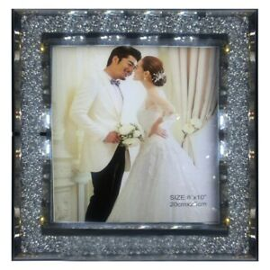 Crushed Mirrored Crystal 8 x 10 Inche Photo Picture Photograph Frame Silver Gift