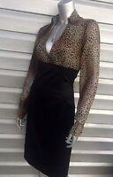 SANDRO FERRONE Black High Waist Pencil Animal Cheetah Leopard Print Dress