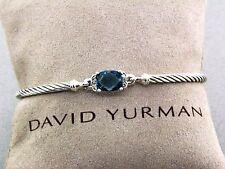 DAVID YURMAN 3MM  PETITE WHEATON BRACELET HAMPTON BLUE AND DIAMONDS SIZE LARGE