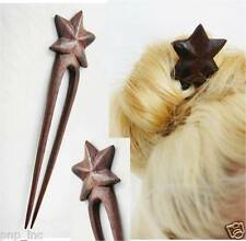 Handcarved Organic Exotic Double Prong Wood Hair Stick Pin Fork w/ Star Logo USA