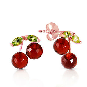14K Solid Rose Gold Earrings with Garnets & Peridots