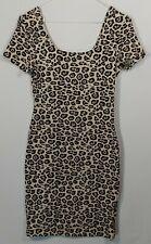 Leopard Print Bodycon Dress UK 8 Stretchy Sexy Mini Fun Animal Print