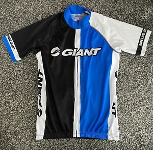 Giant Pro Blue And Black Short Sleeve Cycling Jersey Size EU XL Full Zip.