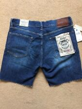 "Polo Ralph Lauren The Varick Slim Frayed Blue Jeans Short, W32"" - 7"" Inseam,£119"
