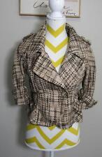 BEBE Buckles Brown Beige Double Breast Jacket Coat