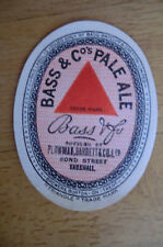 BASS PALE ALE BOTTLED BY PLOWMAN BARRETT LONDON  BREWERY PAPER BOTTLE LABEL