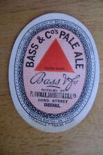 BASS PALE ALE BOTTLED BY PLOWMAN BARRETT LONDON  BREWERY PAPER BOTTLE LABEL