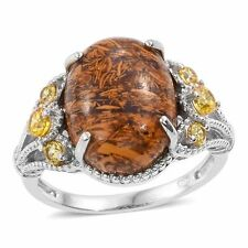 INDIAN SCRIPT GENUINE GEMSTONE WITH SIMULATED CANARY YELLOW DIAMOND RING 5