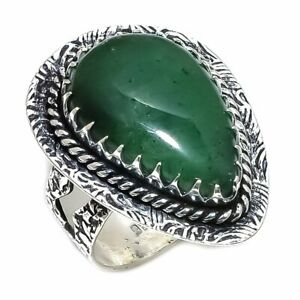 Green Aventurine Gemstone Handmade Ethnic Ring Size 9