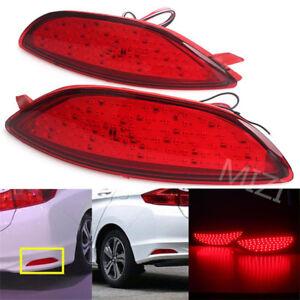 2X LED For Hyundai Accent Sedan 2008-2015 Lens Rear Bumper Reflector Brake Light