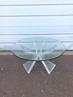 Mid Century Modern Lucite Butterfly Coffee Table With Glass Top MCM Retro