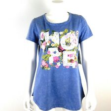 Reba McEntire Country Festival Hope Floral Rose Print Blue T-Shirt Size Small