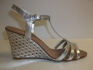 Dune London Size 10 M Gately Silver Leather Laser Wedge Sandals New Womens Shoes