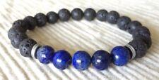 Men's Beaded Bracelet Black Blue Lapis Lazuli Chakra Yoga Mala Reiki Diffuser