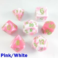 Elemental Poly 7 Dice RPG Set Pink White Green Two Tone 5e Pathfinder D&D DND HD