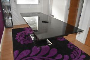 Extendable Black Marble & Chrome Base Rectangular Dining Table 240cm Seats 8-10